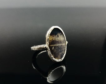 Solitaire ring Rustic Everyday Jewelry Dendrite Agate Raw design Gemstone jewelry Gift for her Gemstone Jewelry  Silver Ring Keepsake