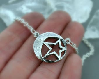 Domed Moon and Star Necklace