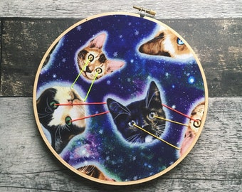 Laser Cats, Cat Fabric, Cat Cotton, Funny embroidery, Pussy Grabs Back, home decor, wall decor, living room decor