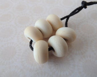 lampwork glass beads, ivory tumbled spacers UK handmade Set