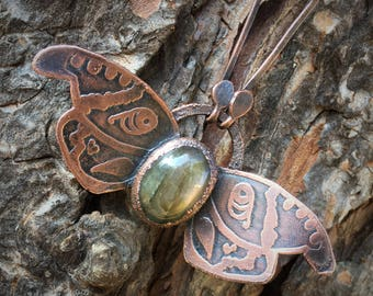 Labradorite Moth Necklace