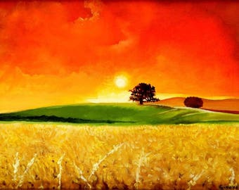 Cornfield Sunrise Landscape Limited Edition A3 Print Of Original Oil Painting