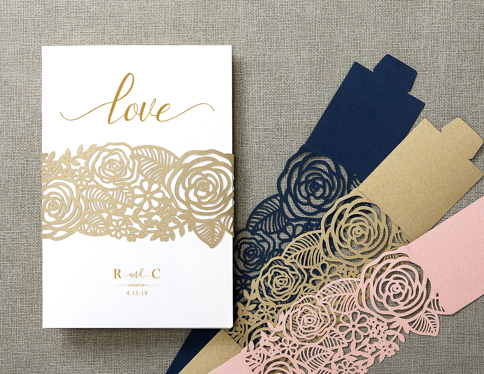 Elegant rose flowers laser cut belly band wedding invitations cards ...