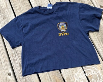 NYPD Embroidered Crop Tee L