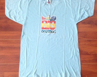 1978 Mork and Mindy NANO NANO Hand Sign Vintage T-shirt - Baby Blue - 50/50 - M - Made in USA cilpEEu