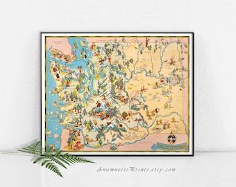 WASHINGTON carte impression - art photo vintage de carte à encadrer - projets carte art print - illustré par Ruth Taylor White - décor de maison et bureau