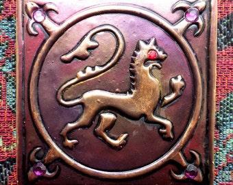 Medieval lion fridge magnet, large polymer clay magnet, heraldic lion fridge magnet, Medieval style magnet