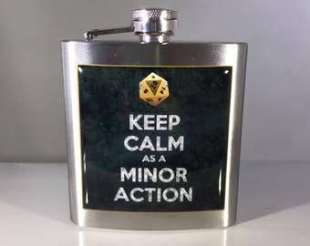 Dungeons & Dragons Keep Calm as a Minor Action Liquor Hip Flask