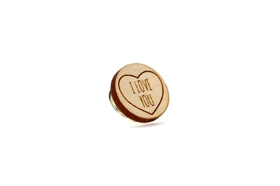 "Pin with message ""I love you"" - graphic brooch - romantic accessory - not another enamel pin - graphic accessory - lasercut maple wood"