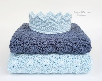 ROYAL PRINCE BABY shower, Royal Crown, Crochet Baby Crown, Photo Props Baby, Blue Crochet Crown, RoyalCrownHandmade