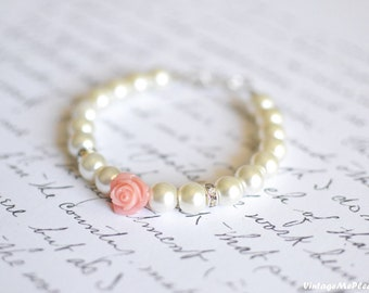 Childrens Jewelry Ivory Pearl Bracelet Flower Girl Gift Infant Jewelry Baby Girl Bracelet Toddler Gift