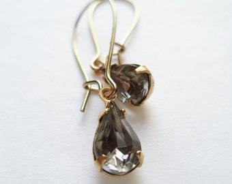 Vintage Earrings Glass Dangles Black Diamond Accessories Gift Idea For Her Under 15 minimalist Wedding Bridesmaids