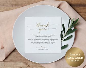 Wedding Thank You Card, Thank You Printable, Wedding Table Thank You, Elegant Wedding, Gold Wedding, PDF Instant Download #BPB324_14
