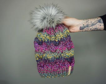 Braided Cable Knit Beanie in Astroland with Silver Fox Pom | Charlie & Luna Co., Womens, Teens, Bright Colors, Pink, Purple, Teal, Hat, Warm