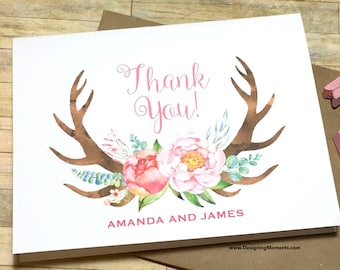 Personalized Thank You Cards - Rustic Floral Antler Rustic Country Wedding Thank You Note Cards - Wedding Stationery - Flower Antlers DM127