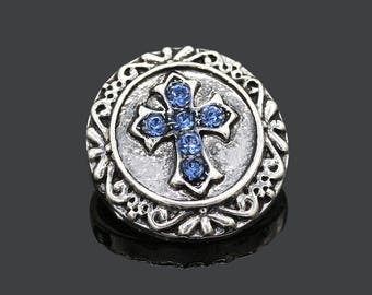 One Round Metallic With Scrolls, Blue Rhinestone Cross Drill Snap Button/Charm/Chunk (for Ginger Snaps or Noosa-type Jewelry)