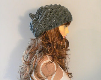 Knit Hat Women Grey Hat Gray Knit Hat Gray Hat Pixie Hat Slouchy Knit Hat Slouch Beanie Slouchy Hat Hand Knit Hat Knit Beanie