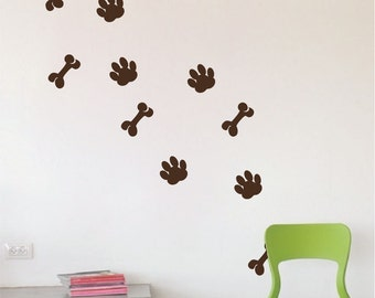 Dog Paws Wall Decal, Dog Paws Wall Stickers, Dog Paws Wall Designs, Dog Paws Wall Mural, Dog Paws Wall Graphics, Kid's Room Dog Paws, d53