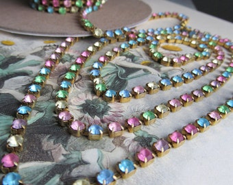 Swarvovski  SHINEY  Multicolor Rhinestone Chain