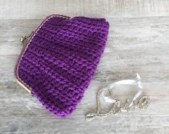 Purple Crochet Coin Purse, Crochet Pouch, Handmade Purse,Metal purse frame, Purse compact, Sewing Purse, Free shipping