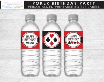 Casino Night Poker Theme Birthday Party Water Bottle Labels | Red & Black | Personalized | Printable DIY Digital File