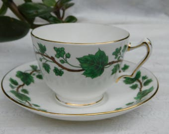 Crown Staffordshire Green Vine Tea Cup and Saucer English China