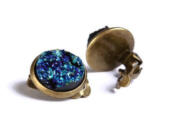 Antique brass turquoise blue green clip on earrings - Faux Druzy earrings - Textured earrings - Nickel free lead free (749)
