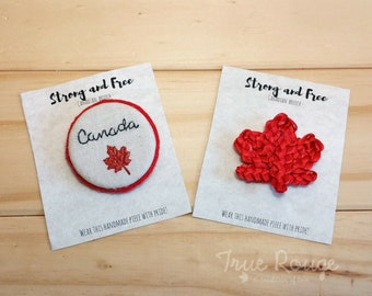Handmade Fabric Brooch Ideal for Canada Day or as Souvenir Gifts for your Loved Ones, made in Canada