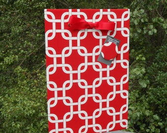 "Graduation Gift, School Colors, Magnetic Board,  Red Gotcha -  Fabric Magnet Memory Board - (11"" x 14"")"
