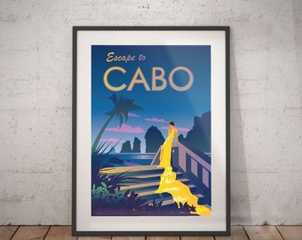 cabo, cabo travel poster, wall decor, vintage