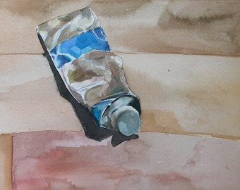 Original Watercolor Painting - Blue Paint Tube 3