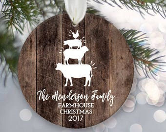 """Family Ornamen Farmhouse Family of four Ornament Personalized Christmas Ornament Rustic """"wood"""" Family of 4 Farm animal ornament OR854"""