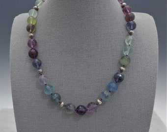 Plum Green Blue Flourite and Silver Necklace