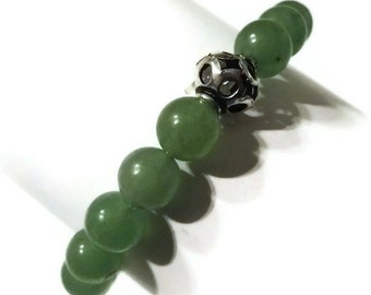 Aventurine and Silver Bead Bracelet