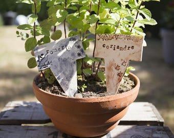 2 marks plants, herbs ceramic garden signs