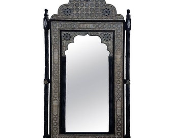 Moroccan M Mirror, Framed with white Camel Bone