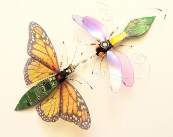 The Golden Monarch and the Sweet Violet Damsonfly, Entwined Fantasy Circuit Board Insects