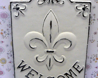 Fleur de lis Ornate Welcome Decorative Cast Iron Rectangular Plaque Classic White Distressed Wall Decor FDL French Paris Shabby Elegance