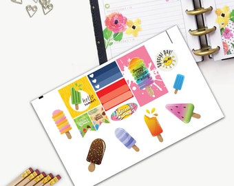 Delicious Summer Theme One Day Small Planner Sticker Set, All Happy Planner Stickers, Stickers, Printed, Cut, Functional Sticker, Summer