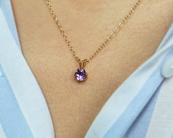 Amethyst Necklace, Amethyst Pendant, Amethyst Jewelry, February Birthstone, Aquarius Necklace, Pisces Necklace, Dainty Necklace, Gold Filled