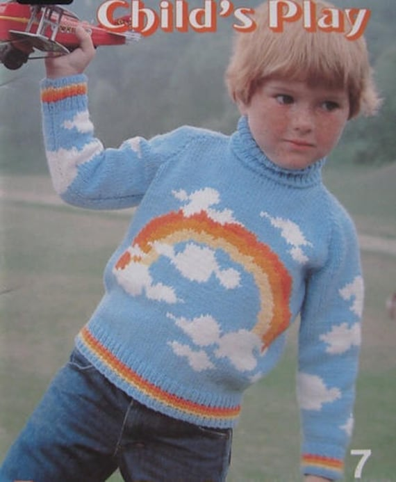 Vintage Knitting Pattern For Kids Girls Or Boys Rainbow