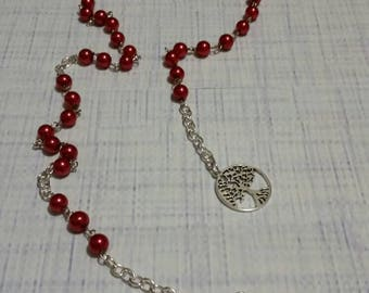 Elemental Witches ladder, Witches prayer beads, Pagan rosary, Wiccan prayer beads, Fire element, red glass pearls, silver tree of life