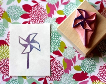 Windmill rubber stamp//hand carved and hand crafted