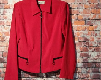80's Red Women's Jacket, Size M, Vintage, Katie Lee Collection,Zipper Up Jacket