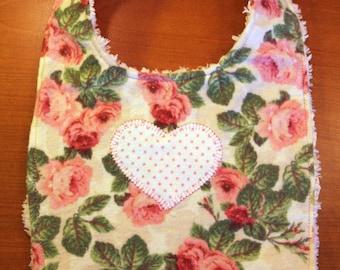 Baby Bib - Vintage Rose Design - Heart Applique - Flannel and Chenille