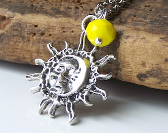 CLEARANCE Etsy, Etsy Jewelry, Jewelry on Etsy, Sun Pendant, Sun and Moon Charm Necklace, Yellow Czech Glass Bead, Charm Necklace