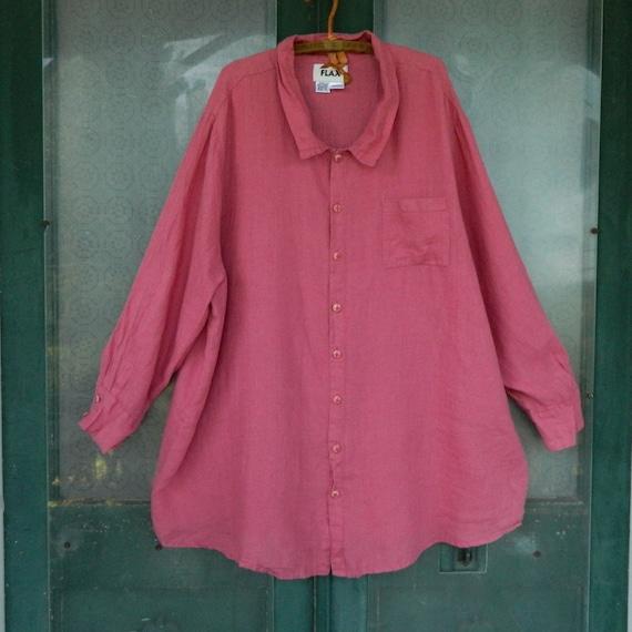 FLAX Engelhart Long Sleeve Shirt -3G/3X- Rose Petal Linen