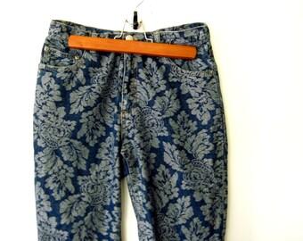 Brocade Jeans / High Waist Jeans / 90s Floral Brocade