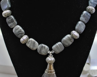 Gray Necklace with Beads and Tassel