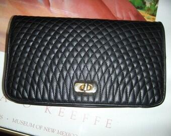 Vintage Black Quilted Clutch ~ Ande' ~ Elegant Chic Handbag